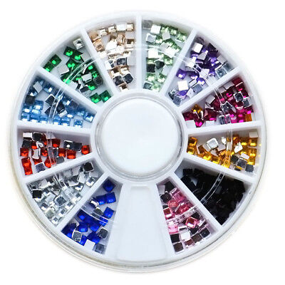 Nail Art 3D Tips Metal Flatback Square Gems Rhinestones Crystal Wheel Decoration