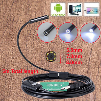Android PC HD Endoscope Waterproof Snake Borescope USB Inspection Camera 8mm UK