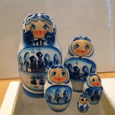 "Russian Religious  Nesting Doll ""mother Of God Of Vladimir"" 5 Pcs Signed 7"" H"