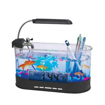 Fish Tank Aquarium with LED Light Aquarium Home Office Decoration USB Desktop
