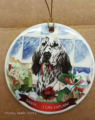 Pet Gifts USA English Setter Christmas Ornament Black & White I Can Explain