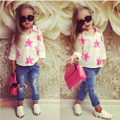 2PCS Toddler Kids Baby Girls T-shirt Tops+Denim Jeans Pants Outfits Clothes Set