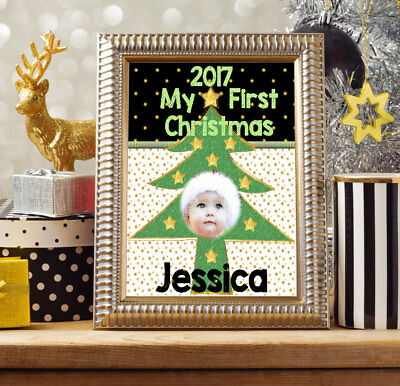 Personalised Photo Art Collage 1St Christmas Keepsake My First Christmas Baby