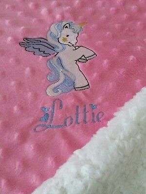 Personalised Dimple Fleece Baby Blanket Grey Teddy Extra Thick Minky Tatty