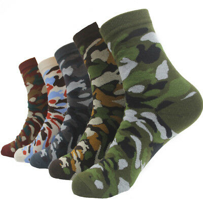 5 Pairs Mens Camouflage Cotton Socks Lot Fashion Camo Casual Dress Ankle Socks