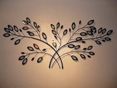 New Large Black Elegant Spray Metal Leaf Wall Art Branch Leaves Contemporary