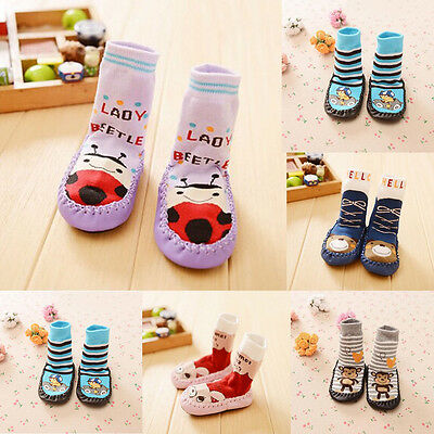 Baby Kids Toddler Non-Slip Socks Leather Moccasin Sleepers Shoes Foot Warmer AU