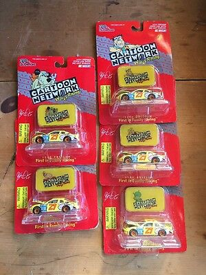 Cartoon Network Wacky Racing Stock Car W/ Wacky Emblem Set Lot Flintstones 1/64