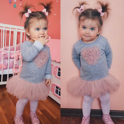 UK Toddler Kids Baby Girl Long Sleeve Lace Dress Sweatshirt Skirt Outfit Clothes
