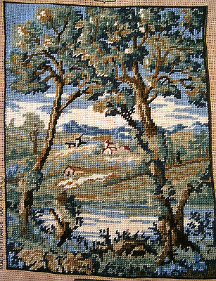 Vintage MARCOT Creations de Paris Needlepoint Hand Stitched Tapestry Completed