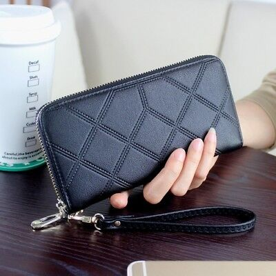 Purse Wallet Leather Women Solid Color Black For Female Clutch Long Purse Bag