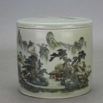 Chinese old  famille rose glaze porcelain landscape pattern Cricket cans