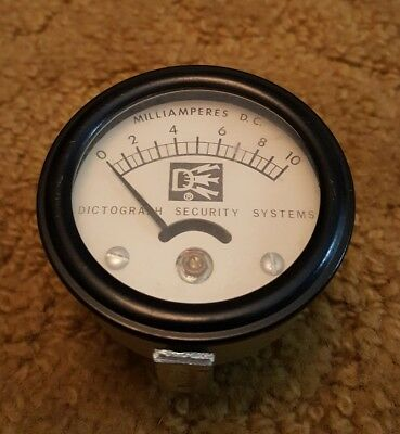 Milliamperes D.C. Panel Meter P-1379 Dictograph Security Systems - DC *Rare*