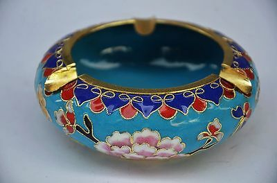 Delicate Chinese Cloisonne Handmade Flower Ashtray Zrf