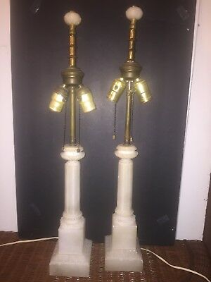 Pair of Italian Neo-classic Style Double Socket Alabaster Table Lamps
