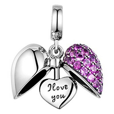 I Love You Crystal Heart Charm Bead - 925 Sterling Silver - Christmas Gift 4 Mum