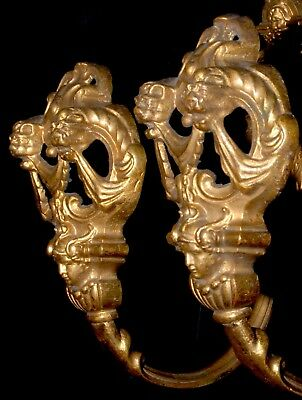 Antique bronze/ brass French Curtain ormolu Tie Backs Lions Female & Devil faces