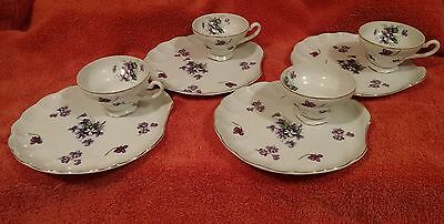 Violets Shell Shaped Plates Cups 8 Pc set