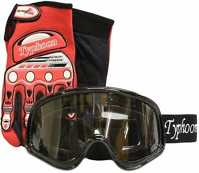 Adult Gloves Goggles Motocross Clearance ATV Dirt Bike Off road Black Red Combo