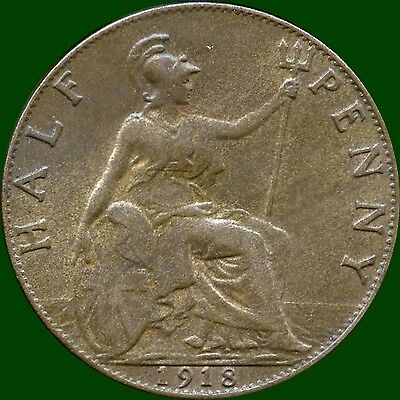 1918 Great Britain Half Penny Coin