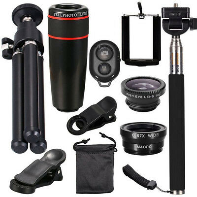 Universal 10 in1 Lens Phone Camera Cell Clip Optical Telescope Kit 8X Zoom