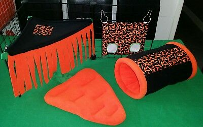 Guinea pig fleece cage set - carrot design (tunnel, hammock tent, hay bag, bed)