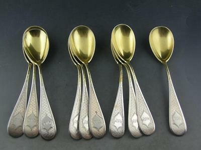10 Sterling GEORGE SHARP Egg Spoons BAILEY & CO engine turned & etched