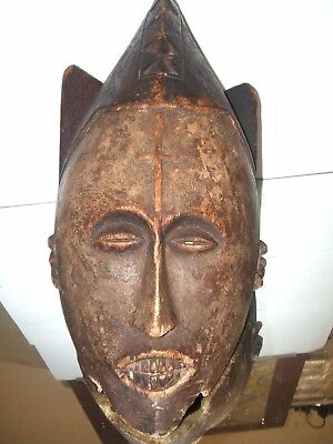 African wood calved tribal mask rare collectable ornamental religious antique