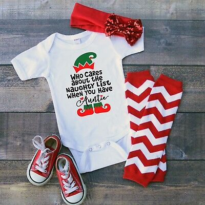 Auntie Who Need Naughty List Baby Shower Idea Boy Girl Toddler Clothes Christmas