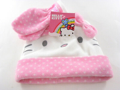 f4c9eae665b HELLO KITTY HAT GLOVES Set White Pink Fleece Baby Todder Girl s Hat ...