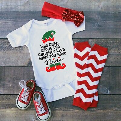 Nana Who Need Naughty List Baby Christmas Boy Girl Toddler Clothes Romper Funny