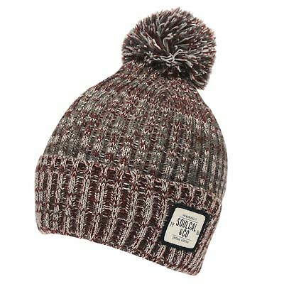 0ad5abbe009 Mens Soulcal Red Grey Woolly Fairisle Knitted Ski Skiing Bobble Beanie Hat