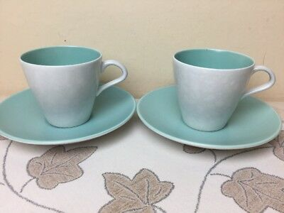Poole Pottery Twintone Ice Green & Seagull 2 x Cups & Saucers Superb Condition