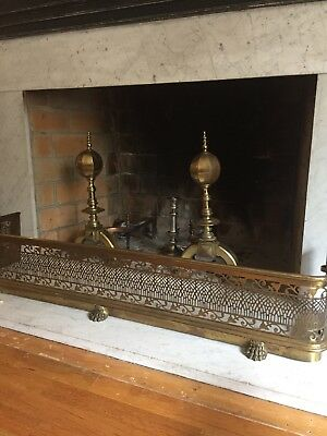 Antique Brass Fireplace Set andirons and fender screen From Convent