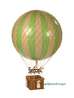 "XL Hot Air Balloon Green & White Striped 17"" Hanging Aviation Decor"