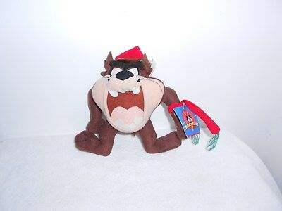 "Taz Looney Tunes Christmas 7"" Plush Doll with Santa Hat and scarf"