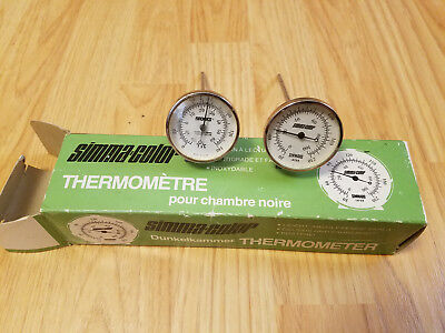Vintage Lot of 2 Darkroom Processing Thermometers Brooks and Simmard Simmacolor