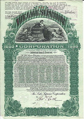 1904 NEW JERSEY The Lake Superior Corp $1000 Bond Stock  Sault St Marie