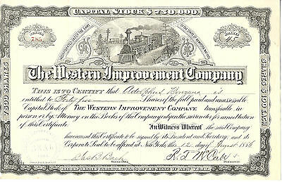 NEW YORK 1886, The Western Improvement Company Stock Certificate