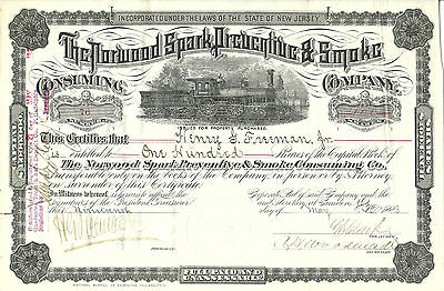 NEW JERSEY 1883, Norwood Spark Preventive & Smoke Consuming Stock Certificate