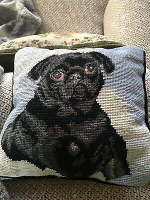 "9"" X 9"" Needlepoint PUG DOG Accent Pillow w black back"