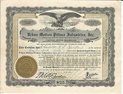 1921 Urban Motion Picture Industries Inc Stock Certificate Early British Films