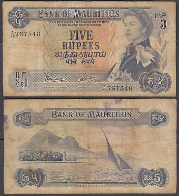 Mauritius 5 Rupees 1967 P-30 (VG) Condition Banknote QEII