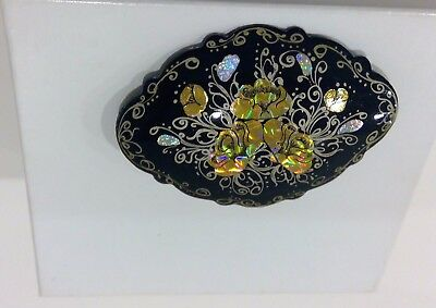 "Russian Black  Lacquer Brooch ""FLOWERS"" Fedoskino Style Signed"