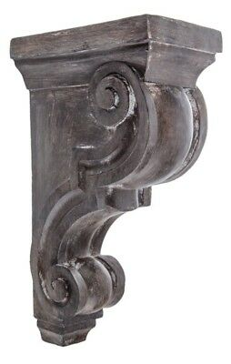 LARGE RUSTIC CORBELS / BRACKETS Set Of 2 Distressed GRAY Corbels Grey