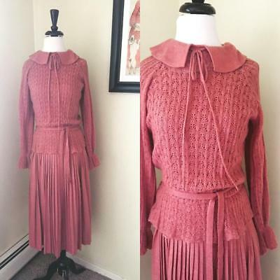 Vintage 40s Style Sweater Dress Saks Fifth Ave Dusty Pink Rose Wool Knit Peplum
