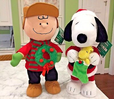 """Charlie Brown & Snoopy 21"""" Large Christmas Holiday Winter Door Greeters * New *"""