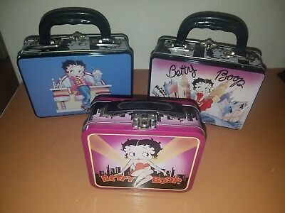 Lot of 3 Betty Boop metal lunch boxes