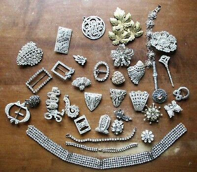 Lot of Vintage Antique Clear Rhinestone Jewelry  ~ Buckles Broaches Bracelets