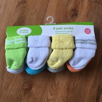 Luvable Friends Unisex 8 Pack Newborn Socks Yellow 0-6 Months
